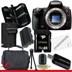 Sony SLT-A35 Alpha 35 DSLR Digital Camera (Body Only) Package 3 by Sony. $559.00. Package Contents:  1- Sony SLT-A35 Alpha 35 DSLR Digital Camera (Body Only) with all supplied accessories 1- 32GB SDHC Class 10 Memory Card 1- Rapid External Ac/Dc Charger Kit   1- USB Memory Card Reader  1- Rechargeable Lithium Ion Replacement Battery  1- Weather Resistant Carrying Case w/Strap  1- Pack of LCD Screen Protectors  1- Camera & Lens Cleaning Kit System  1- Mini Flexible Tab...