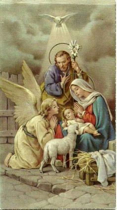 The most Holy Family Of all Nativity or our Lord Jesus Christ Christmas Scenes, Christmas Nativity, Christmas Past, Christmas Pictures, Christmas Angels, Religious Pictures, Jesus Pictures, Vintage Holy Cards, Vintage Christmas Cards