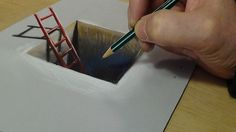 3D Drawing for Kids - How to Draw Red Ladder in the Hole - Trick Art on ...