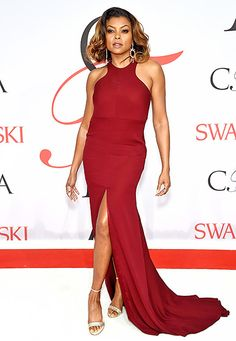 Taraji P. Henson worked the carpet in a wine-colored Vera Wang dress with a thigh-high slit, which she paired with starburst earrings and shimmering sandals.