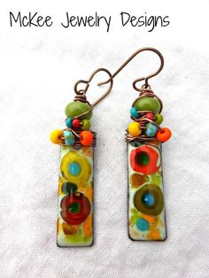 Green Lampwork Glass, seed beads and copper metal enamel charm earrings. on imgfave