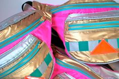 90's child waterproof bumbag fanny pack pink GOLD and silver reflective bag. metal ykk zips. on Etsy, $85.31 CAD