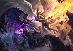 "league-of-legends-sexy-girls: ""Morgana vs Kayle "" Morgana League Of Legends, Lol League Of Legends, Splash Art, League Of Angels, Champions League Of Legends, League Memes, Angel Warrior, Ange Demon, Fanart"