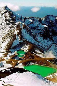 Изумрудные Озера, Новая Зеландия Emerald Lakes, New Zealand