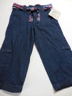 NWT LIVING PLANET Dark Blue Denim Cargo Capri Pants Scarf Belt Ladies 6 Eco #LivingPlanet #CapriCropped