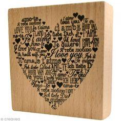Sello madera Amor - Te quiero multilingüe - 8 x 8 cm - Fotografía n°1