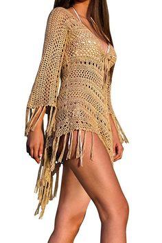 Spring Summer 2017 Jacinta Fringe Hand-Crochet Kimono in Gold Frühling Sommer 2017 Jacinta Fringe Hand-Crochet Kimono in Gold Crochet Halter Tops, Crochet Skirts, Crochet Tunic, Crochet Clothes, Hand Crochet, Crochet Top, Crochet Fringe, Mode Crochet, Crochet Cover Up