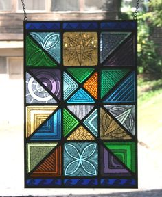 Stained Glass Hand Painted Kiln Fired Art Deco Panel Traditional Leading | eBay