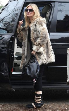 Kate Moss wearing Kate Moss for Longchamp Gloucester Bag in Black Vivienne Westwood Pirate Boots in Black