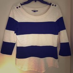 Banana Republic small top shirt Beautiful blue and white stripe colored half sleeve shirt with button design on the shoulder. This shirt is in excellent condition! Banana Republic Tops