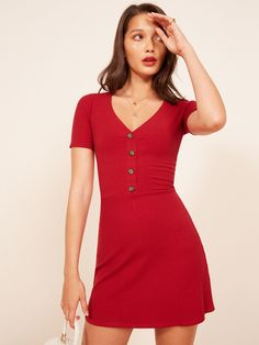 Reformation Cardinal Dress in Cherry https://www.thereformation.com/products/cardinal-dress?color=Cherry