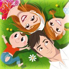 BNP PARIBAS Family Cartoon Girl Drawing, Cartoon Drawings, Family Illustration, Illustration Art, Couple Drawings, Cute Family, Disney Wallpaper, Clipart, Female Art