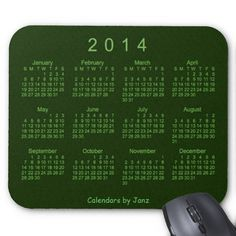 Forest Green 2014 Calendar Mouse Pad Design from Calendars by Janz