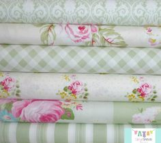 Sunshine Rose Green Fat Quarter Bundle, $18.00, Skye Reve Fabrics