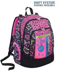cbe9555681 Zaino scuola advanced Seven Shift nero-rosa spallacci regolabili