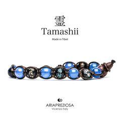 Tamashii - Bracciale originale tibetano realizzato con pietre naturali Agata Blu e legno orientale autentico con SIMBOLI MANTRA incisi a mano