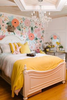 Audrey's bedroom! Where there's more slumber parties than shut-eye and life is always in bloom. Bright and feminine girl's bedroom featured in Hello Sunshine by Leon's Furniture.