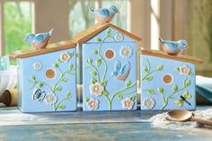 Decorative Kitchen Canisters on Ceramic Birdhouse Canister Set Decorative Kitchen Storage New   Ebay