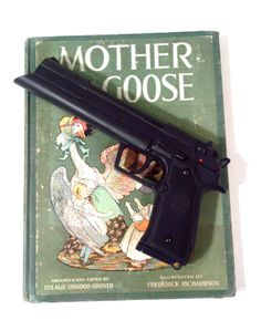 Christian Bale Equilibrium Grammaton Cleric Pistol With Vintage Mother Goose display Book stunning Custom Made rare