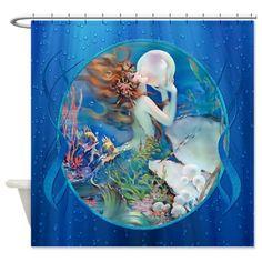 Clive Sensual Erotic Pearl Mermaid Shower Curtain on CafePress.com
