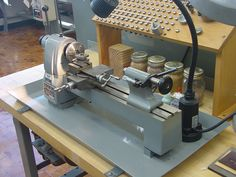 """Derbyshire Model 750 lathe with assorted WW collets. The center height was 75 mm (2.953"""") and the maximum collet capacity 0.315""""."""
