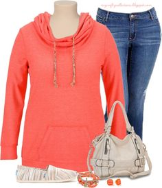 Women's Plus-Size Outfit: Comfy, Casual & Coral! Featuring items from Maurices, Amazon, Old Navy, and Piperlime.