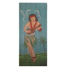 Buy the Hula Girl Beaded Door Curtain online, featuring a retro inspired design of a girl in a hula skirt with ukelele. Great value, best prices.