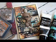 Mixedmedia card with Distress Oxide- Impasto Paint- Vintage Boy