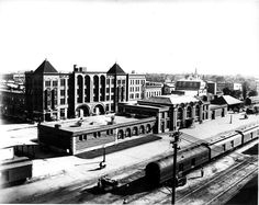 Julius Leschinsky took this photograph from the top of the Nebraska Mercantile Building (358 North Pine Street) looking southwest.  The picture highlights the Union Pacific Railroad's passenger depot, completed in 1918.  Behind the depot is the four-story Koehler Hotel, located in the southwest corner of North Locust and West South Front Streets.