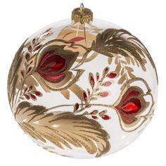 Christmas bauble, transparent blown glass and red gold flower 15