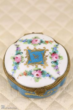Antique porcelain box, hand painted French Limoges jewelry ring casket dresser trinket, blue floral