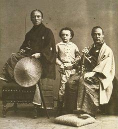 A Japanese old photograph.   Tanizu Kanshiro & Saito Jiro-Taro (Interpreter) & cameraman's son.  The mission which was sent to each European country by the Japanese Shogunate. 1863.