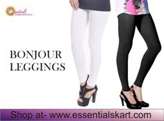 """#Bonjour Black And White Cotton #Leggings Big Offer -Get Rs.200/- Off on """"All Items"""" Use Coupon code """"NSV"""" to Avail the Offer ! *Terms & Conditions Appl On Minimum Purchase of Rs.1500/- Only Shop Now : www.essentialskart.com #essentials #offer"""