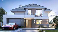 Projekt domu Oszust 2 132,02 m² - koszt budowy - EXTRADOM Double Storey House, 2 Storey House Design, Bungalow House Design, House Front Design, Small House Design, Modern House Design, Morden House, House Plans Mansion, Beautiful House Plans
