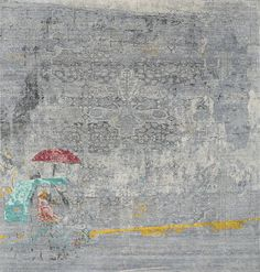 This piece depicts a riksja in the streets of Manila. The idea here was to create very light tone in tone colors making the the classic rug pattern more flowing and disappearing in the background. Also the size is different: it is a square piece. The only thing really jumping forward is the...