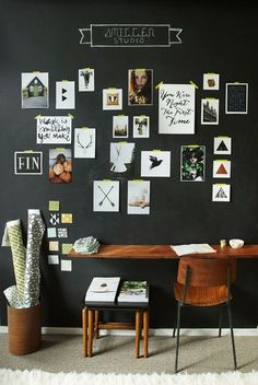 You won't mind getting work done with a home office like one of these. See these 20 inspiring photos for the best decorating and office design ideas for your home office, office furniture, home office ideas Blackboard Wall, Chalk Wall, Chalk Board, Chalkboard Paint, Black Chalkboard, Kitchen Chalkboard, Magnetic Chalkboard, Inspiration Wand, Interior Inspiration