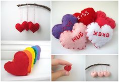 Felt heart wedding favours