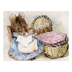 """'The Tale of Two Bad Mice', 1904 -- Beatrix Potter. """"Hunca Munca has got the cradle and some of Lucinda's clothes. Beatrix Potter Fabric, Beatrix Potter Illustrations, Beatrice Potter, Mouse Illustration, Peter Rabbit And Friends, Kids Story Books, Art Graphique, Vintage Art, Vintage Nursery"""