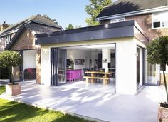 Kitchen extension: not keen on roof design and folding doors, only for side door Kitchen Extension Cost, Extension Plans, Extension Designs, Roof Extension, Extension Google, Extension Costs, Building Extension, Roof Design, House Design