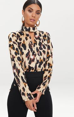 Fashion Women Halter Choker Leopard Blouse Shirts Tops Ladies Casual Long Sleeve Print Plus Size Blouses Shirts Blusas Leopard Print Outfits, Animal Print Outfits, Leopard Blouse, Animal Print Fashion, Fashion Prints, Leopard Print Top, Classy Outfits, Chic Outfits, Fashion Outfits