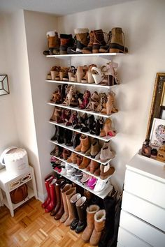 Closet shoes storage ideas, shoe organization for small space, shoes closet, cheap storage ideas Imp Diy Shoe Storage, Diy Shoe Rack, Cheap Storage, Closet Storage, Bedroom Storage, Storage Ideas, Shoe Racks, Shoe Storage In Cupboard, Storage Solutions