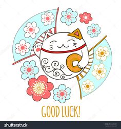 Cute card with a white kitty, Maneki Neko. Cat is holding a coin that symbolizes wishes for the financial well-being Vector illustration. Maneki Neko, Neko Cat, Lucky Cat Tattoo, Ankle Tattoo Small, Ankle Tattoos, Black Cat Tattoos, Japanese Cat, Triangle Tattoos, Cat Doll