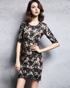 Elegant Beige Embroidered Mesh Mini Dress. VIPme.com offers high-quality Day Dresses at affordable price.