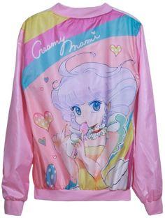 Creamy Mami Varsity Jacket - Sheinside