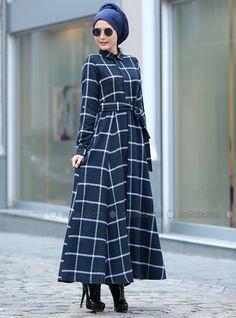 Modanisa Dress - Navy Blue - Selma Sarı Design