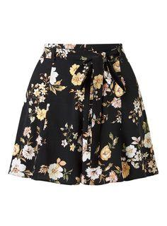 Dark Floral Tie Waist Short