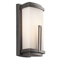 Kichler Lighting 49110AVI Leeds 12-1/2-Inch Light Outdoor Wall Lantern, Anvil Iron with Satin-Etched Cased Opal Glass by Kichler. $119.00. From the Manufacturer                The Kichler Lighting 49110AVI Leeds Light Outdoor Wall Lantern creates a soft contemporary feel that is a striking statement for any home. It features a cased opal glass rectangular shade with a distinctive rectangular accent. Whether you are looking for that perfect outdoor wall lantern for...