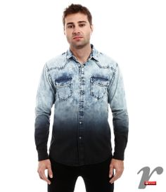 Camisa masculina jeans deep dye