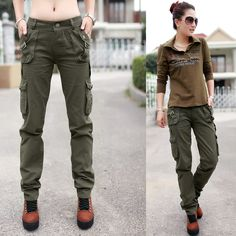 hot 2013 new fashion military camo cargos Straight overalls multi-pocket casual baggy camouflage pants for women $36.44