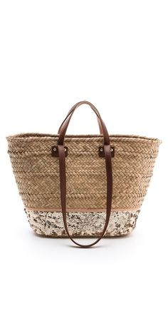 Straw/sequin beach tote.